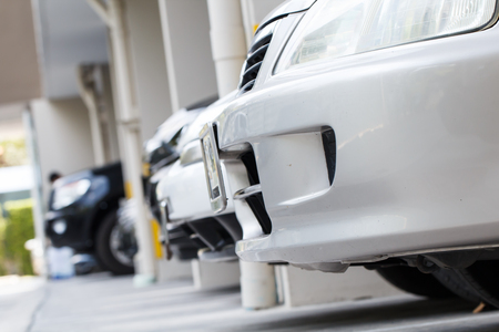 carpark: Close-up of car parking in carpark