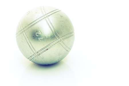 petanque: Metallic petanque ball isolated on white background Stock Photo