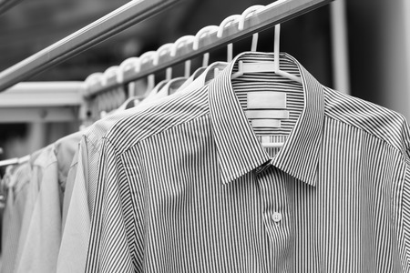 Man shirt wait for dry after cleaning in black and wite Stock Photo