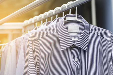 drycleaning: Man shirt wait for dry after cleaning Stock Photo