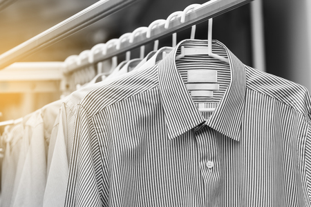 Man shirt wait for dry after cleaning in black and white