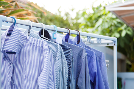 Blue clothes wait for dry on daytime-2