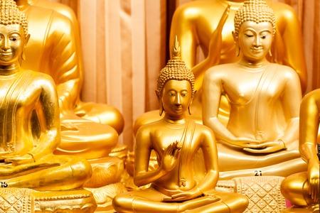Golden buddha in public temple Stock Photo