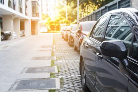 denver parks: Line of car parking outdoor of building