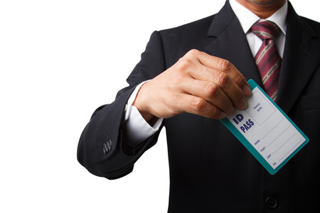 identity card: Businessman showing blank identity name card isolated on white and make clipping path