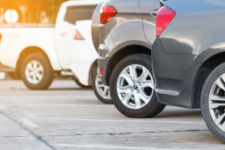 storey: car parking in line and outdoor Stock Photo