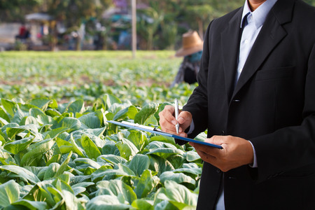 Double exposure businessman writing notebook in agriculture farm