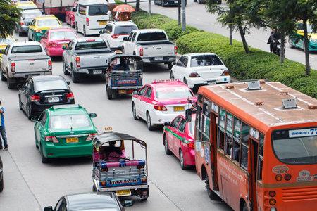 BANGKOK, THAILAND - Oct 29, 2016: Rush hour of traffic on daytime, Bangkok, Thailand on October 29, 2016.