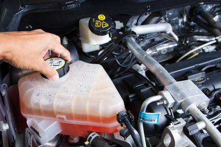 Hand checking level coolant car engine in garage