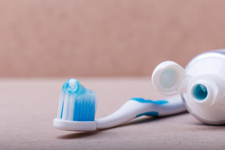 fluoride: Toothbrush with fluoride toothpaste for brushing teeth