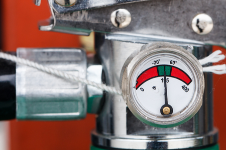 Close-up photos of fire extinguishers to prepare for a fire. Stock Photo