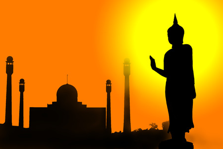 hymn: The silhouette of Buddha statues and mosques depicts the concept of social coexistence between Buddhists and Muslims. Stock Photo
