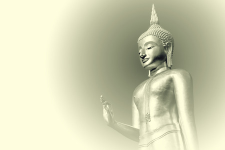 The black and white statue of the Buddha depicts the peace and the attachment of the Buddhist mind. Stock Photo