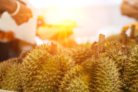 Durian streer fruit, durian a famous fruit of Thailand and a favorite of foreigners.