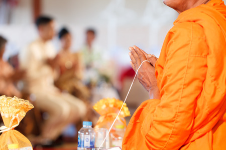Buddhist priests are praying for sacred ceremonies according to Buddhist religious traditions