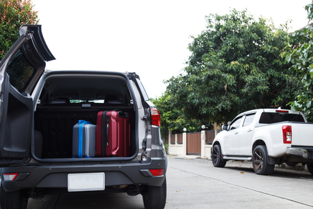 Private car and luggage are prepared for the holiday