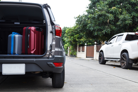 Private car and luggage are prepared for the holidays on daytime