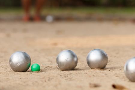 試合でブールと緑のジャックボール 写真素材