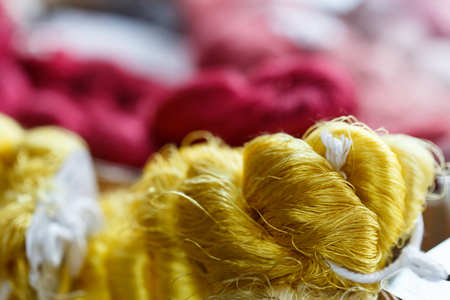 Yellow Thai silk cotton prepare for traditional hand weaving loom to make cloth