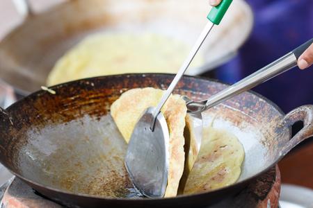 Thai crispy pancakes  on process Banco de Imagens