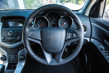 passenger compartment: steering wheel  for save driver Stock Photo