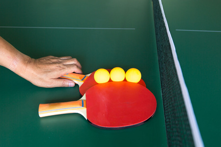 tabletennis: Table tennis paddles and ball Stock Photo