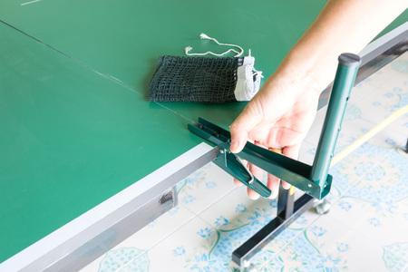 tabletennis: Equipment for table tennis - racket, ball, table, net