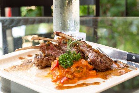Grilled Race of New Zealand lamb with Rosemary Sauce International food at hotel