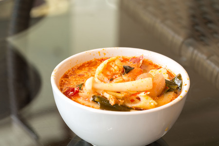 Tom Yum Goong - Thai hot and spicy soup with giant fresh water prawn - Thai food traditional