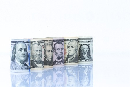 five dollar bill: Portraits of America presidents and politicians from dollars isolated on white background. Stock Photo