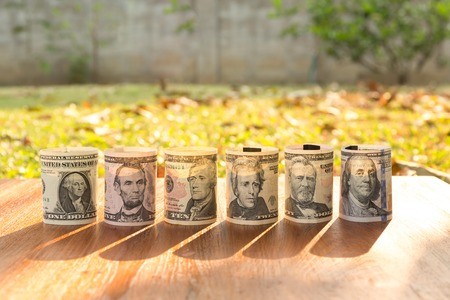 george washington: Portraits of America presidents and politicians from dollars isolated on white background. Stock Photo