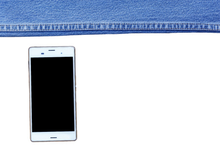 Blue denim fabric to stitch close-up