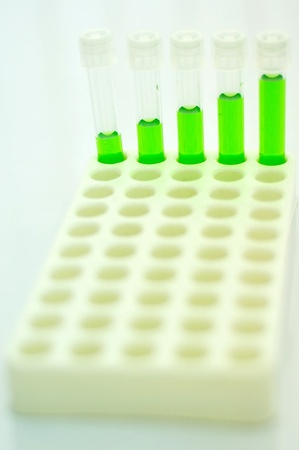 chemic: Test tubes with colored reagent Stock Photo