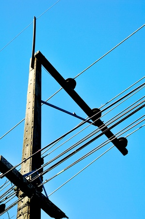 cornerstone: Electric post with blue sky Stock Photo