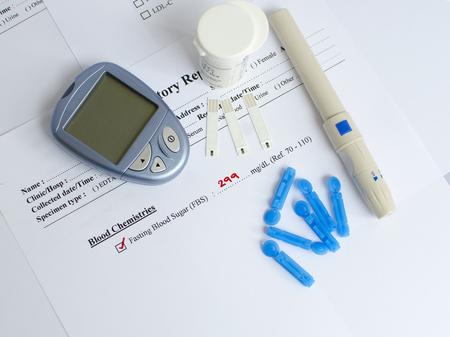 blood sugar: High blood sugar result Stock Photo