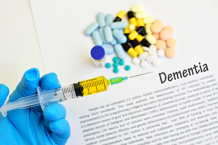 memory drugs: Syringe with drugs for dementia treatment