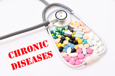 chronic: Drugs for chronic diseases treatment Stock Photo