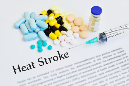 dyspnea: Drugs for heat stroke treatment Stock Photo
