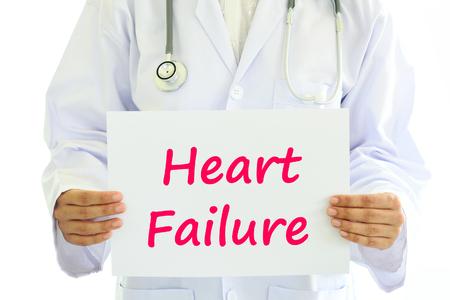 heart failure: Doctor holding heart failure card in hands