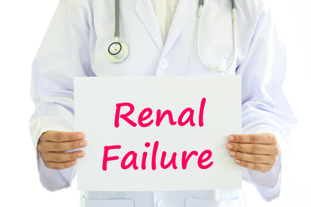 renal: Doctor holding renal failure card in hands