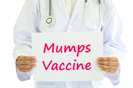 antigenic: Doctor holding Mumps vaccine card in hands