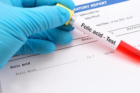 Blood sample with folic acid testing result