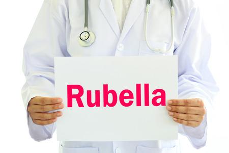 rubella: Doctor holding Rubella card in hands Stock Photo