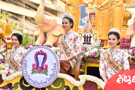 flower parade: Miss Chiangmai in flower parade, Chiangmai flower festival 2016, 6 February 2016, 8 am, Chiangmai, Thailand