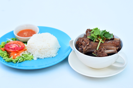favorite soup: Rice with pork soup, spare ribs Stock Photo