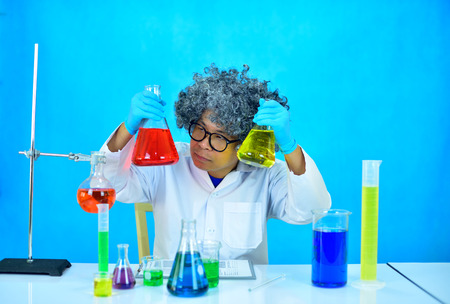 Old man scientist in research laboratory