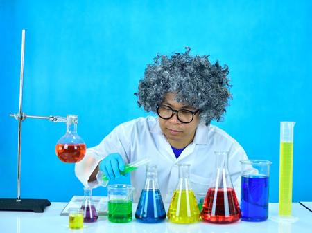 Crazy man scientist in research laboratory