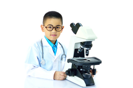 Young Asian doctor working with microscope