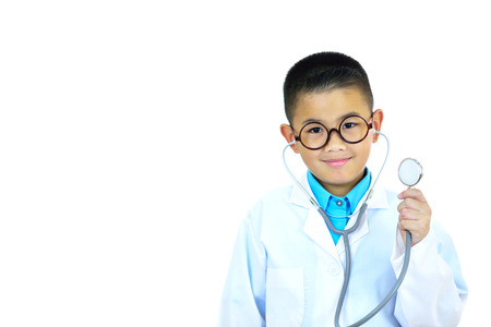 Portrait of Asian boy doctor on white background
