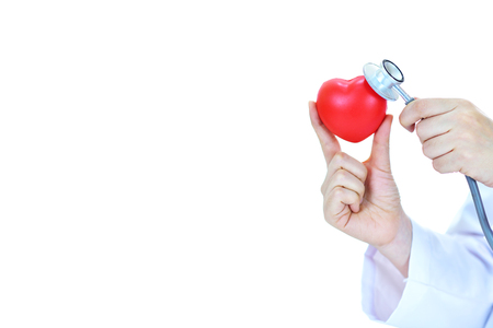 Cardiologist holding heart in hand